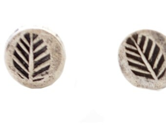 Fossil Leaf Design Stud Earrings in Sterling Silver Antique Look Oxidised Finish e47