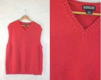 50%offJune27-30 mens sweater vest size xl, red v-neck cotton vest, 1980s sweater vest 80s sweater vest, minimalist mens knit vest lands end
