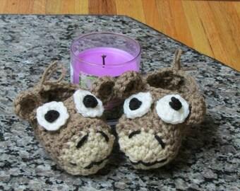 Moose Critter Crochet Booties.