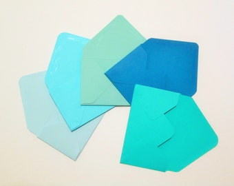 Gift Card Envelopes, 5 Shades of Blue or Red Hand made Gift Card Holder, Mini Envelopes, Small Envelopes, Business Card Holder, Set of 25