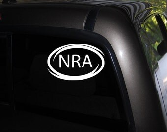 "NRA Decal, National Rifle Association Decal, gun decals, vinyl decal sticker Free US Shipping 3.5"" X 6"" Black or White"