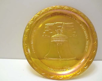 American Bicentennial Commemorative Plate Carnival Glass #1981 Liberty Bell PA