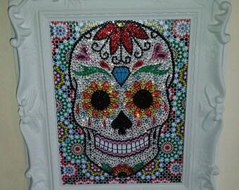 Framed rhinestone Day of the Dead sugar skull art