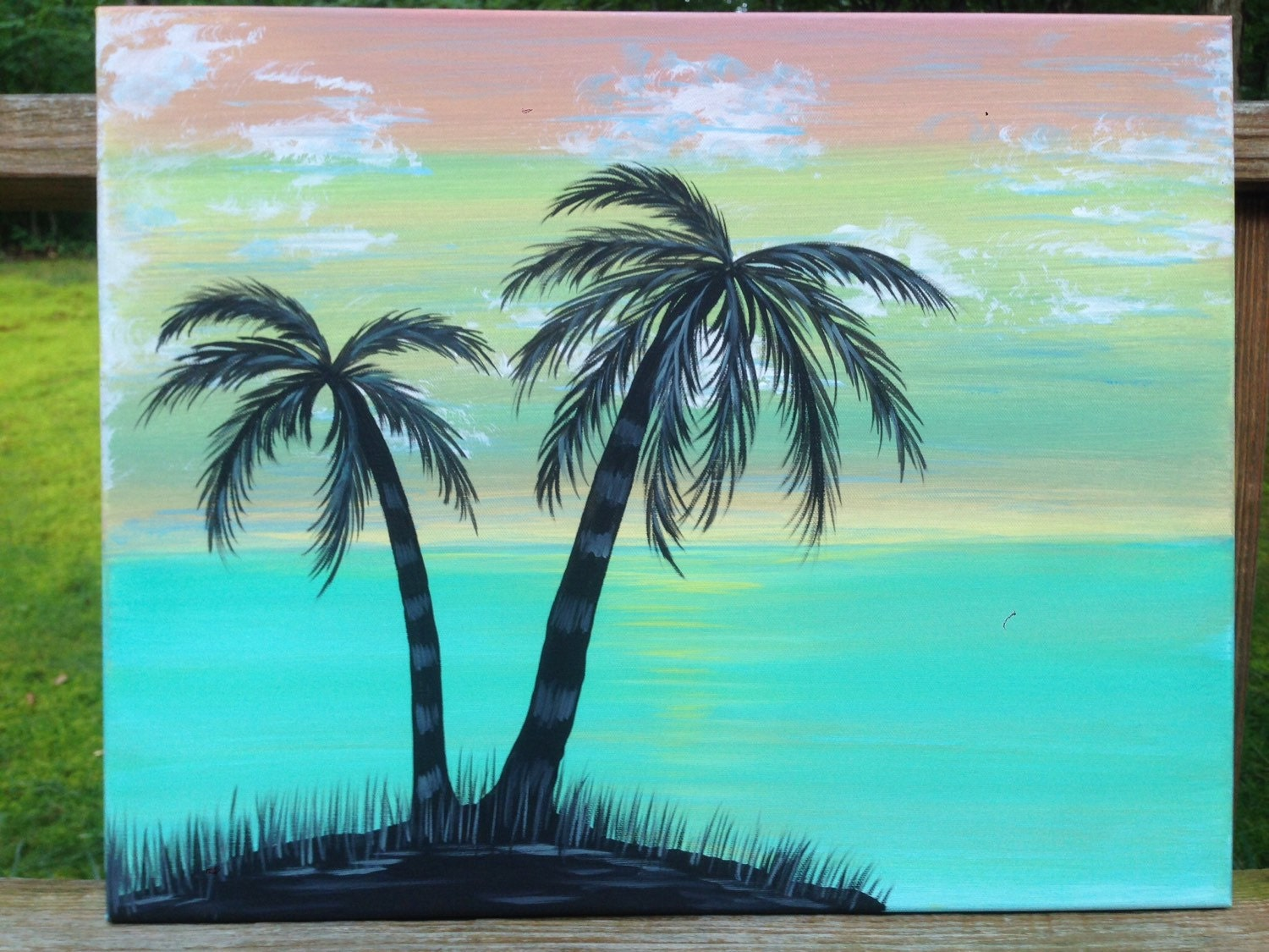 16x20 hand painted abstract palm tree painting for Painting palm trees