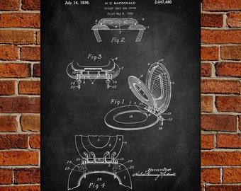 Toilet Seat  Art Print, Toilet Seat  Patent, Bathroom Vintage,  Bathroom Blueprint, Bathroom Print, Bathroom Prints, Bathroom Art, Decor