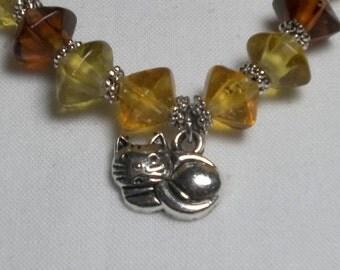 Cat Charm Earthtone Beaded Bracelet