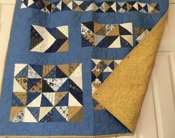 "Blue & Gold Filigree Lap Quilt - 45"" x 54"""