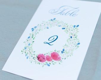 Table numbers printable - numéros de table à imprimer