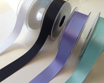 Turquoise Double Faced Satin Ribbon  -  25mm
