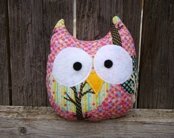owl plush, stuffed owl, pink, mini owl, gift