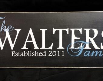 Family Established Sign, Last Name Sign