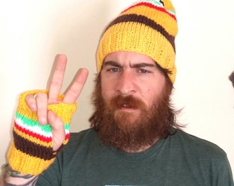Burger hat. Hand knitted yellow, brown, white, red and green hamburger bobble hat