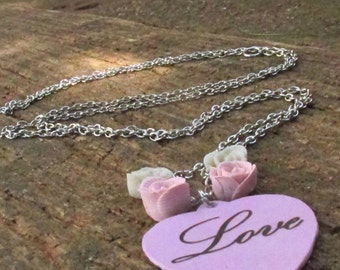 Long pink heart necklace