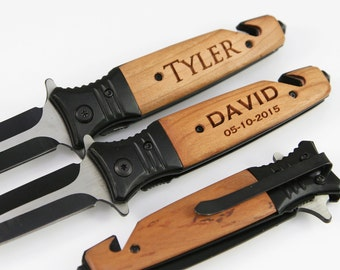 Groomsmen Gifts 1 Personalized Custom Engraved Pocket Knife Tactical Folding Knife Rescue Knife Groomsmen Knives Engraved Knives - KFE001