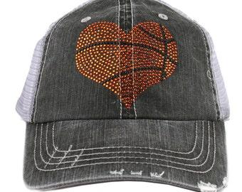 Rhinestone Basketball Heart Women's Trucker Cap - IAD-TC-584