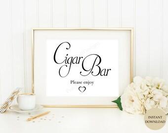 Cigar bar sign (INSTANT DOWNLOAD) - Cigar bar wedding sign - Wedding printable signs