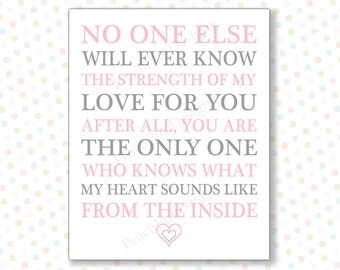 No one else will ever know Pink 8x10 (INSTANT DOWNLOAD) - No one will ever know - Printable nursery art - Baby girl nursery art