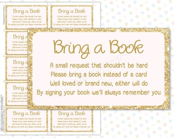 Bring a book instead of a card Pink Gold (INSTANT DOWNLOAD) - Bring a book baby shower insert - Pink and gold baby shower BA001G