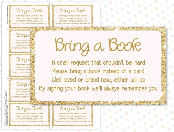 instead of a card pink gold instant download bring a book baby
