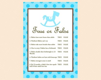 True or False Game, Baby Facts Game, Blue, Boy, Rocking Horse Baby Shower Games Printables TLC26