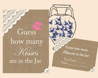 guess how many kisses, how many candy in jar, chocolate, Burlap, Lace, Rustic Unique Bridal Shower Games, Games, Wedding Shower Games BS34