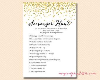 Hens party Scavenger Hunt, Bridal Scavenger Hunt Game, Instant download, Gold Confetti Bridal Shower, Bachelorette, Wedding Shower BS46
