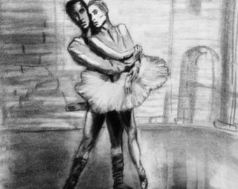 Ballet Dancers charcoal drawing