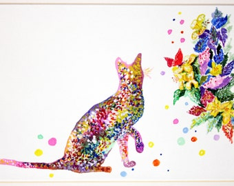 Cat Watercolor Painting Art Print on canvas  Animal Art Illustration Animal  Watercolor Cat Print Cat Poster nursery Decor Art Home Decor