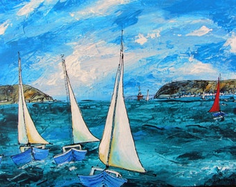 Bright and Breezy, a limited edition print showing 3 yachts racing in the bright sunshine of the Cromarty Firth in Scotland