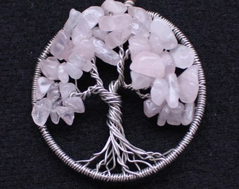 Rose Quartz & Silver Tree FREE SHIPPING US