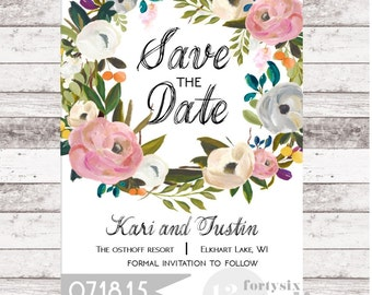 Printable Floral Wreath Save The Date
