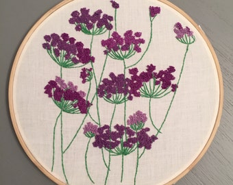 Purple floral wallpaper inspired embroidery hoop wall art