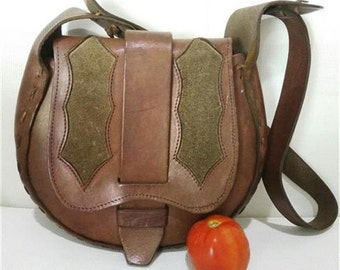 Vintage Handmade Tooled Leather Bag