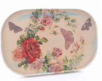 Shabby chic serving tray, hand painted, decoupage, floral