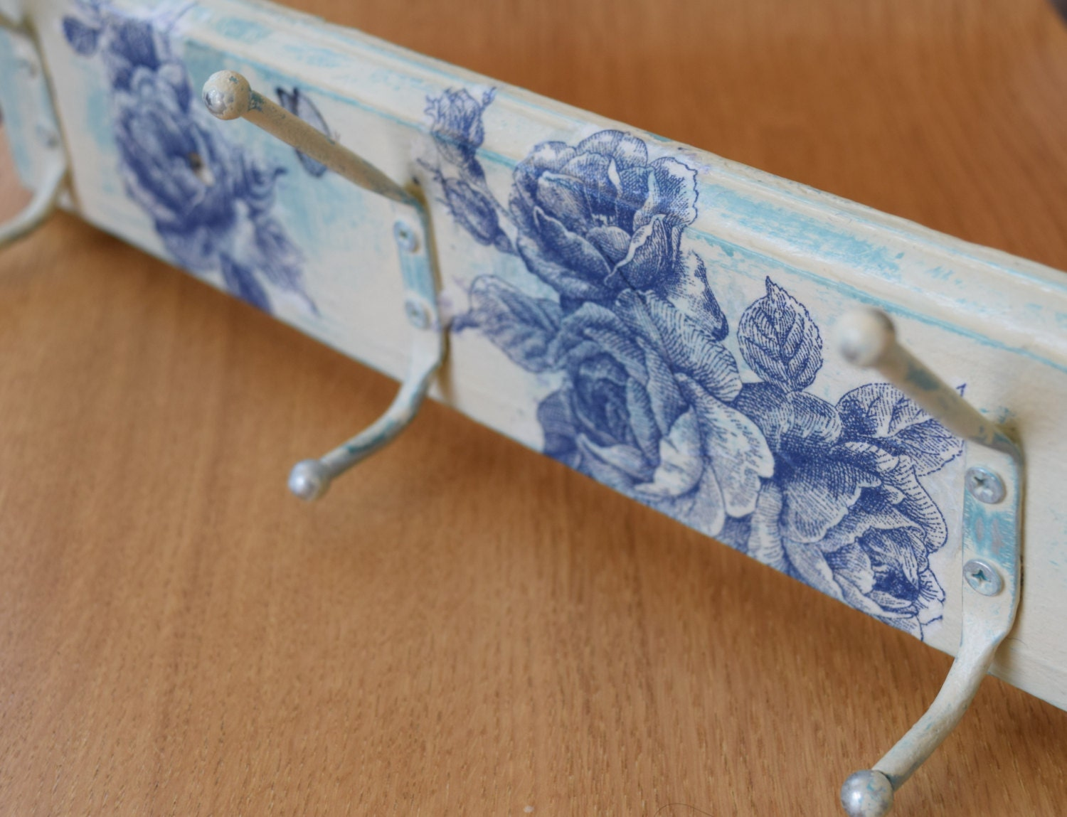 Shabby Chic Coat Rack Floral Cream Blue Hooks By