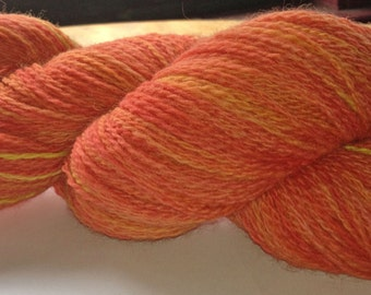 Hand Dyed 100% Peruvian Highland Wool Colorway- Sunset