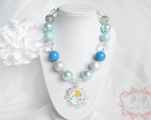Cinderella chunky necklace, statement, blue, silver, girl, baby, birthday, princess, first, 1st, party, gift, bubblegum, photo prop