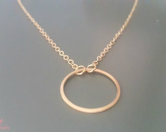Karma o circle charm gold necklace
