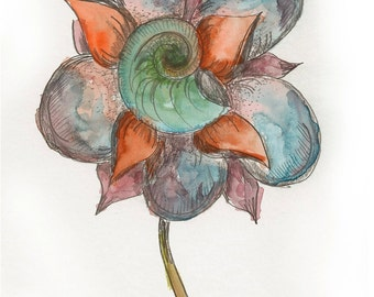 Shell Flower Series #1 Watercolor