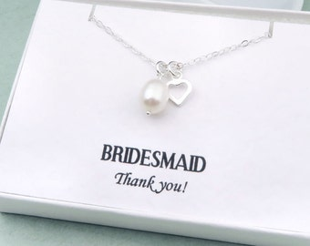 Pearl Bridesmaid Necklace With Message Card, Freshwater Pearl Bridesmaid Gift, Sterling Silver Wedding Jewelry, White Pearl Necklace