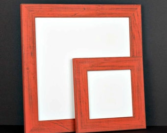 Orange Picture Frame - Rustic Reclaimed Distressed Barn Wood Style - All Wood - Choose your size - Custom Sizes Available