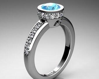 Classic 950 Platinum 1 Carat Blue Topaz Diamond Solitaire Engagement Ring R1011-PLATDBT