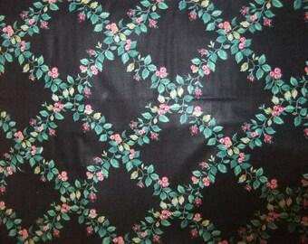 Black Diamond Floral Chintz Cotton Fabric by the Half Yard