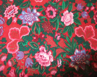 Vintage Red Christmas Print Cotton Fabric, Joan Kessler for Concord Fabrics, 1 1/2 Yards