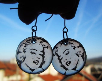 Marilyn Monroe Earrings Resin Transparent  Gift for her Birthday gift Old Hollywood Face jewelry Valentine