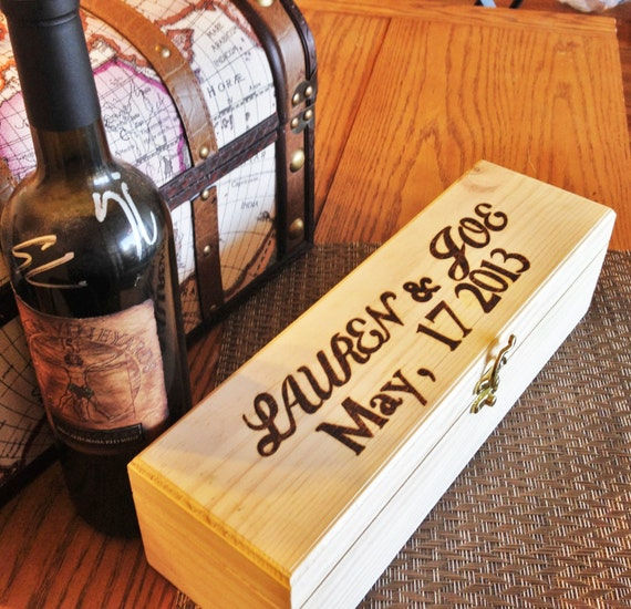 Wooden Wine Box Wedding Gift : Wooden wine box, wedding gift for bride and groom, keepsake box ...