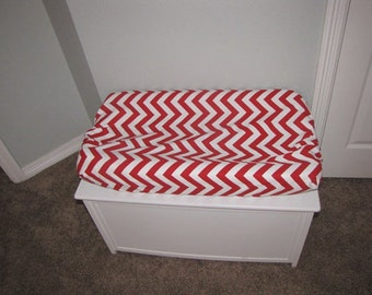 Red Chevron Changing Pad Cover