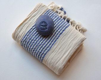 HANDWOVEN TURKISH TOWEL - Beach Towel / Beach Accessory / Beach Wedding  / Beach Cover Up / Turkish Beach Towel / Beach Blanket / Ecru-Blue