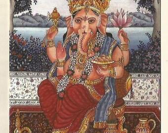 Ganesh. Fine art card. Indian art
