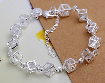 Sterling silver and swarovski Box style bracelet